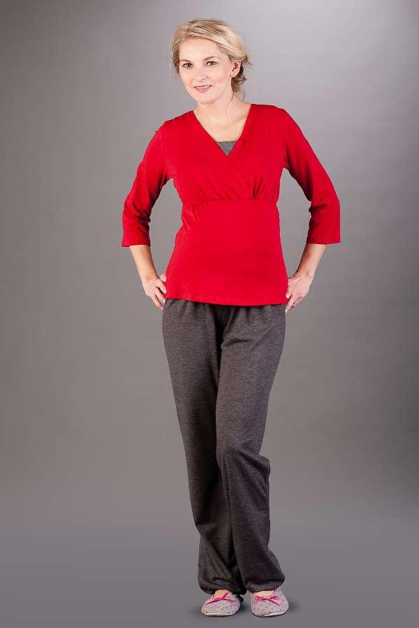Kojící pyžamo BEBEFIELD - Wellness Red