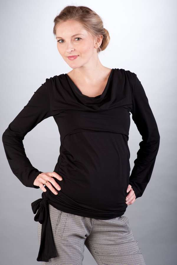 Těhotenská halenka BEBEFIELD - Vida Black