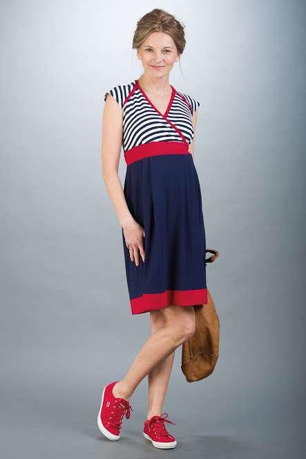 Těhotenské šaty BEBEFIELD - Nadine Navy&Red