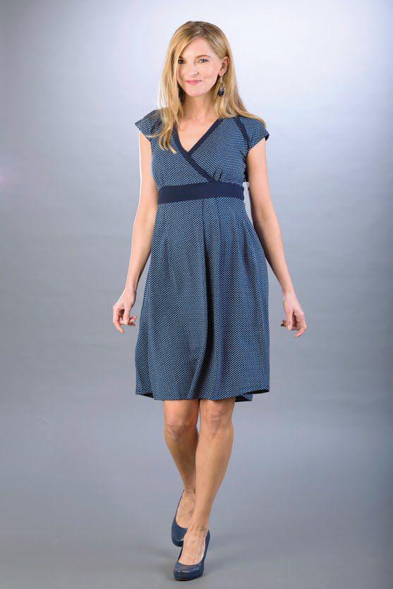 Těhotenské šaty BEBEFIELD - Nadine Navy&White