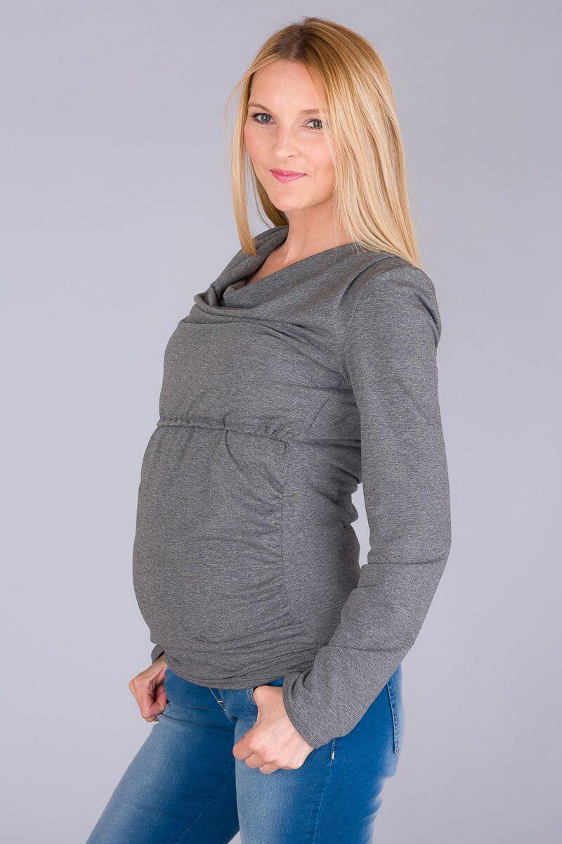 Těhotenská halenka BEBEFIELD - Daisy Grey Melange
