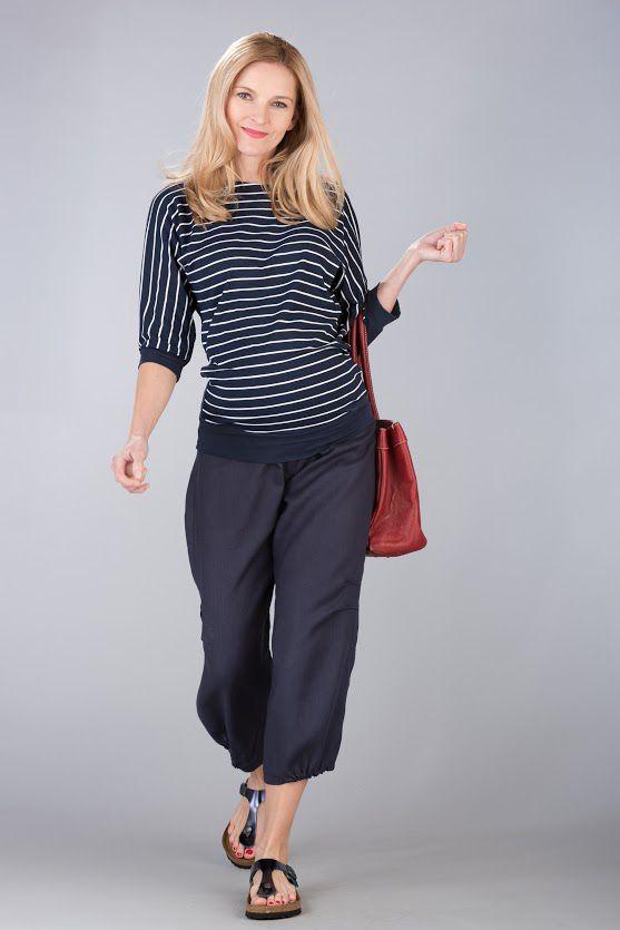 Těhotenská halenka BEBEFIELD - Francis Navy stripe