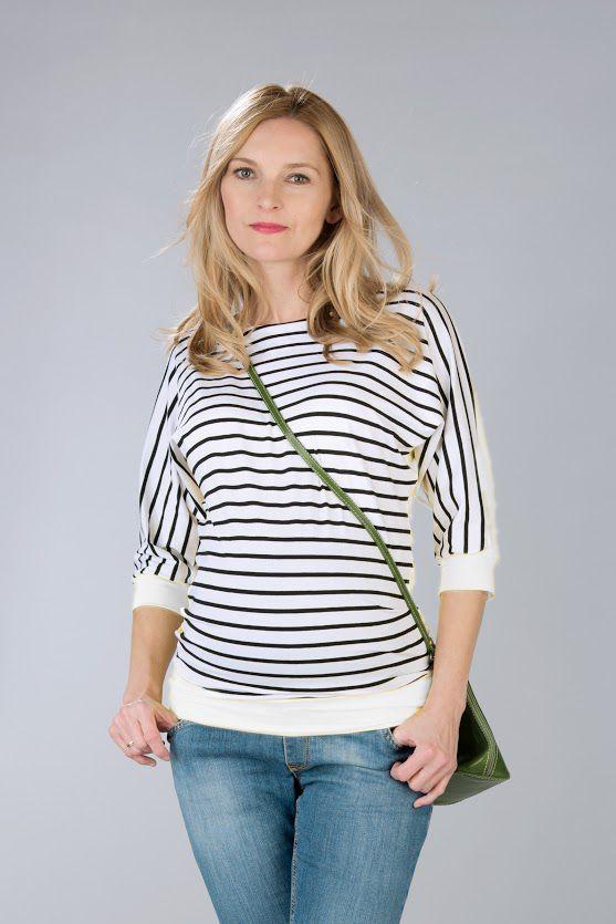 Těhotenská halenka BEBEFIELD - Francis White stripe