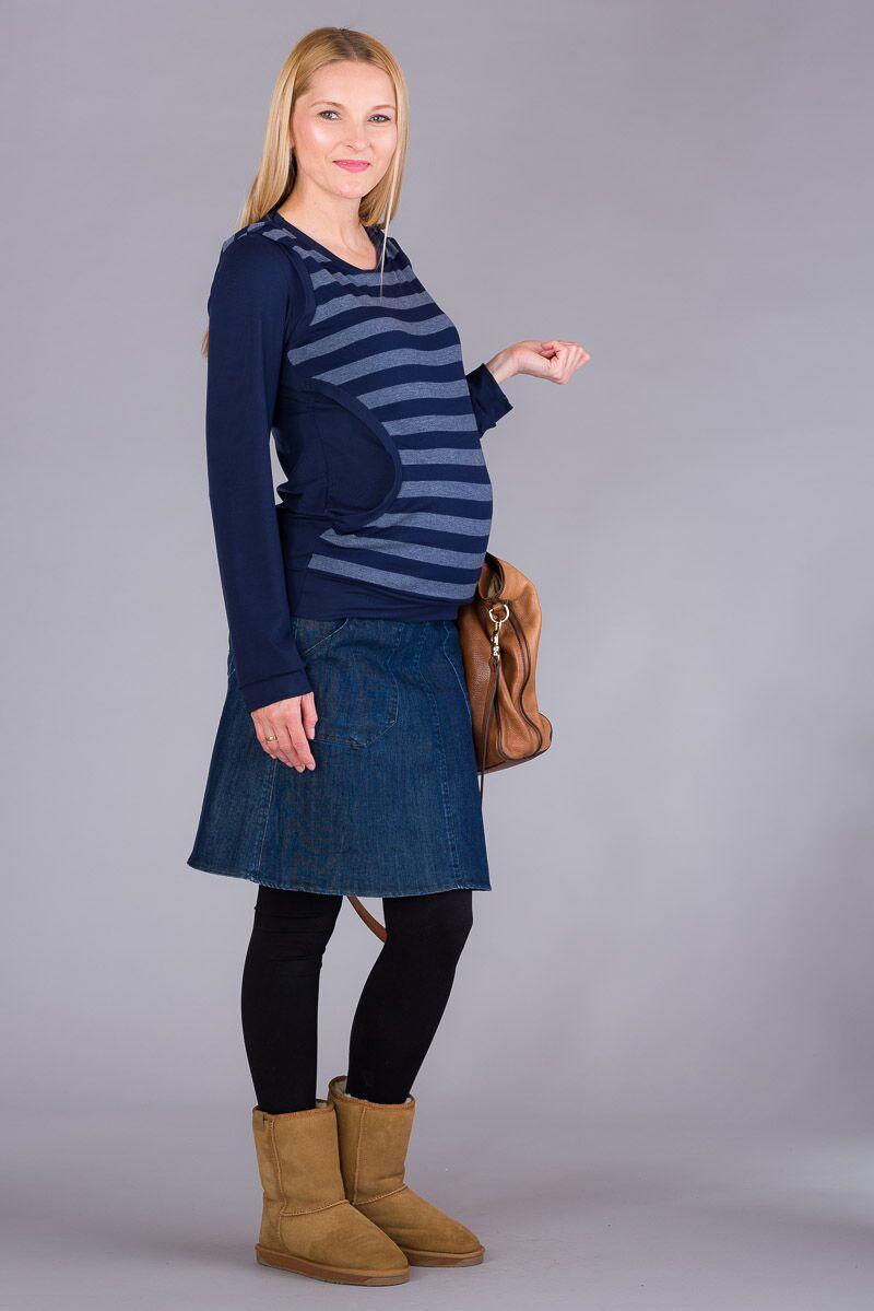 Těhotenská halenka BEBEFIELD - Gaby Jeans Stripe
