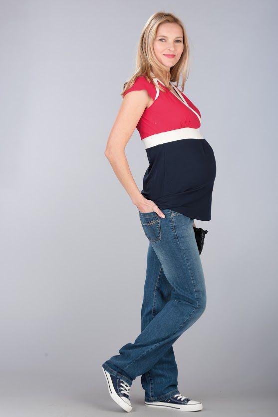 Těhotenská halenka BEBEFIELD - Kathy Red