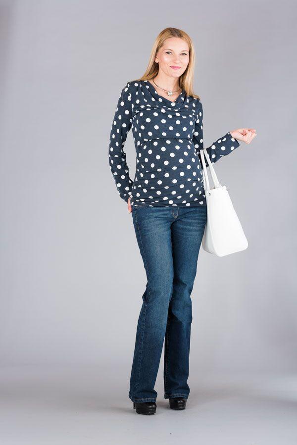 Těhotenská halenka BEBEFIELD - Kelly Jeans White