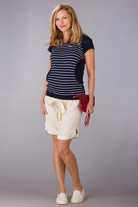 Těhotenské kalhoty BEBEFIELD - Rio Ecru