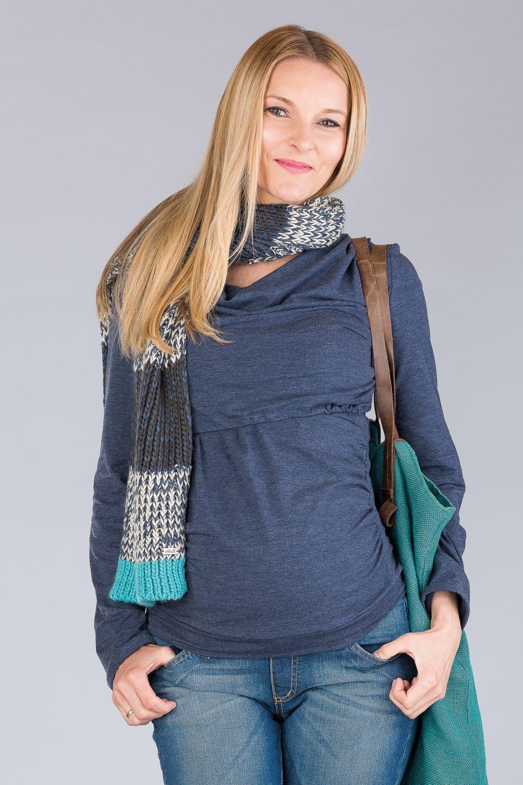 Těhotenská halenka BEBEFIELD - Daisy Blue Melange