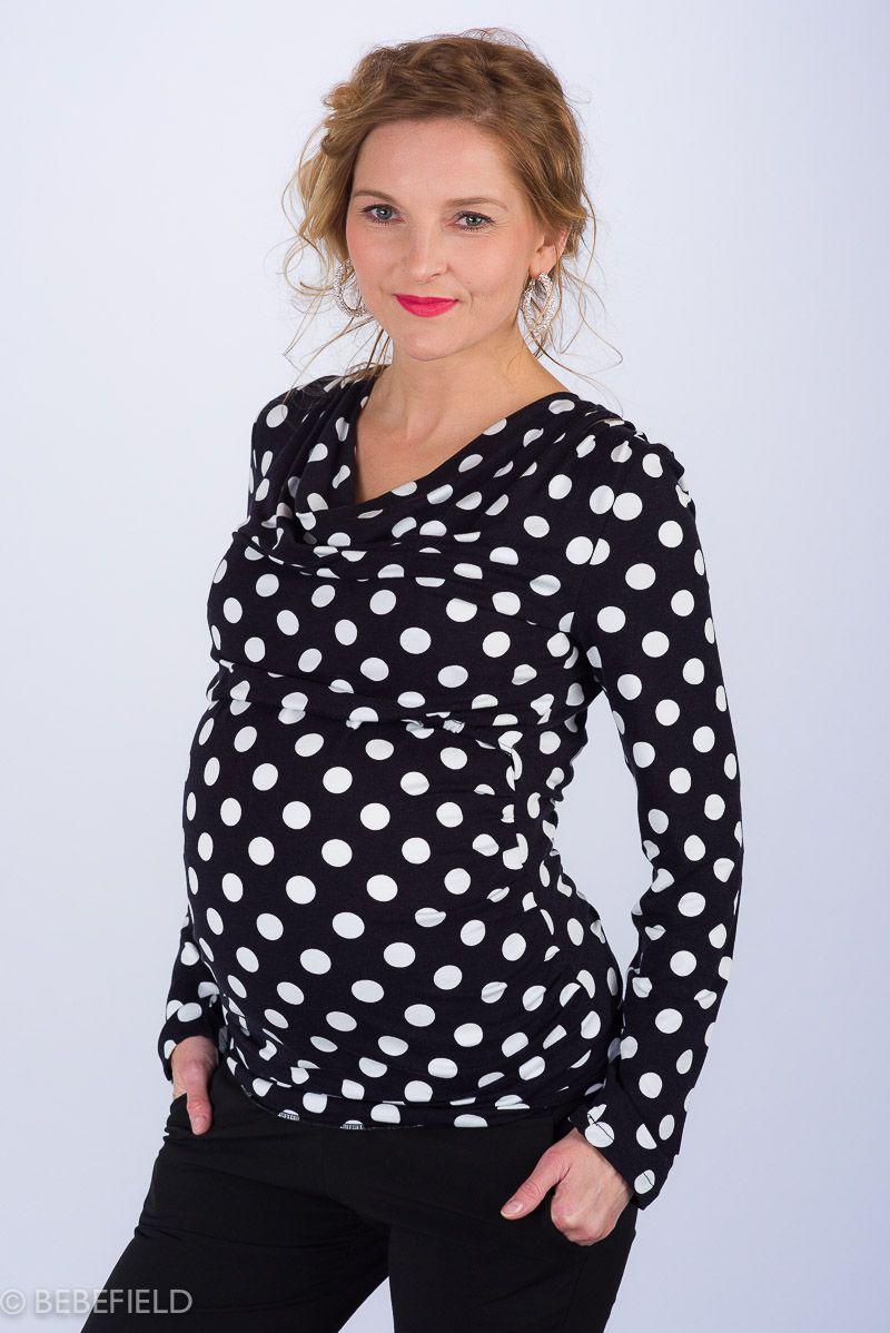 Těhotenská halenka BEBEFIELD - Kelly Black & White