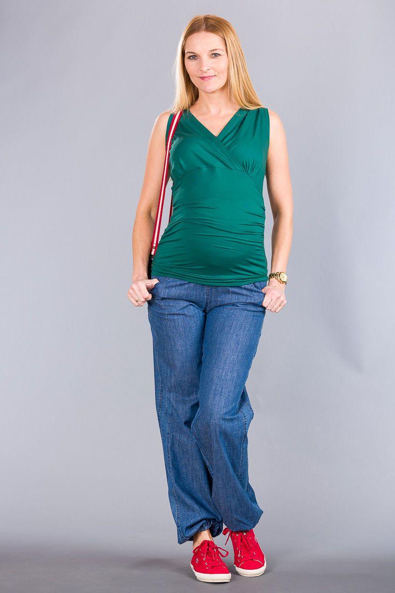 Těhotenská halenka BEBEFIELD - Lucy Deep Green