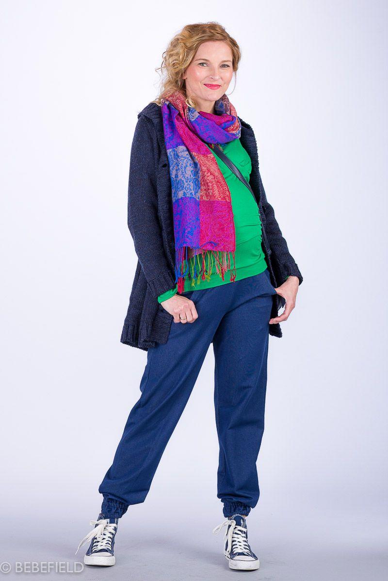 Těhotenské kalhoty BEBEFIELD - Girona Blue