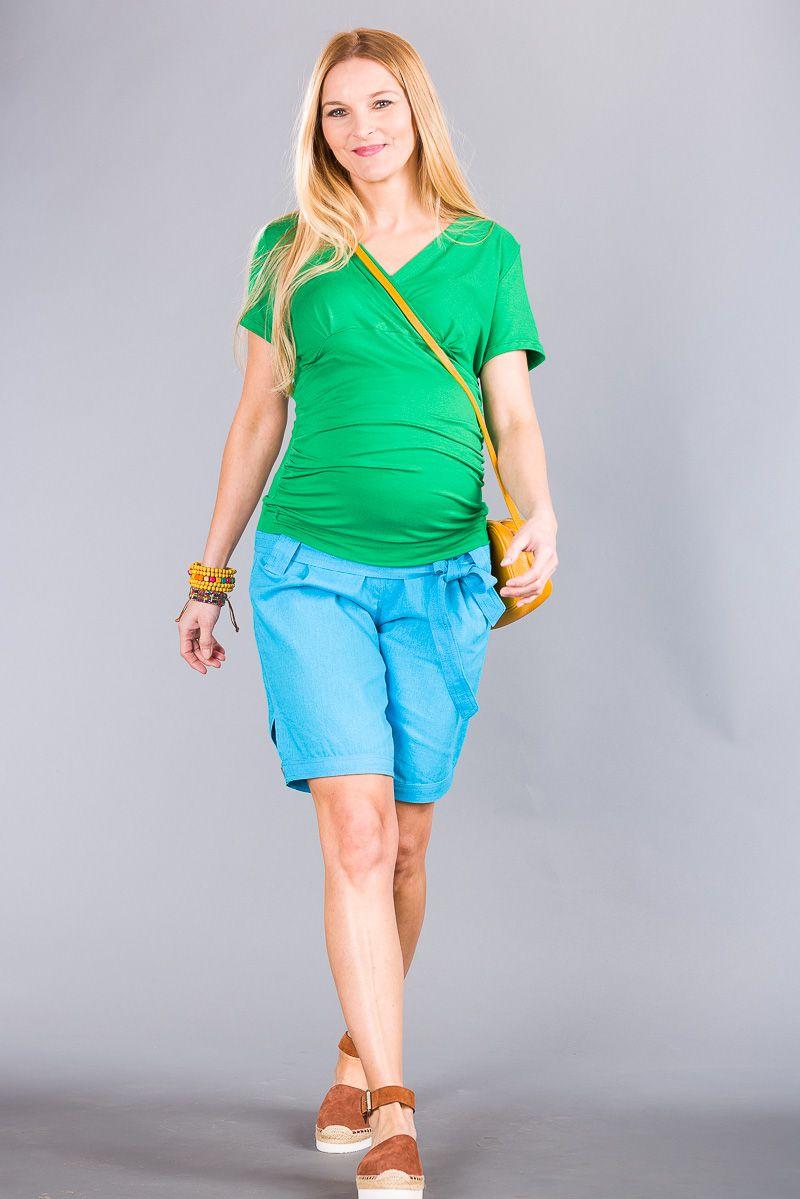 Těhotenské kalhoty BEBEFIELD - Keiko blue