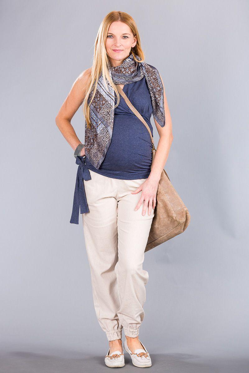Těhotenské kalhoty BEBEFIELD - Lowa Beige