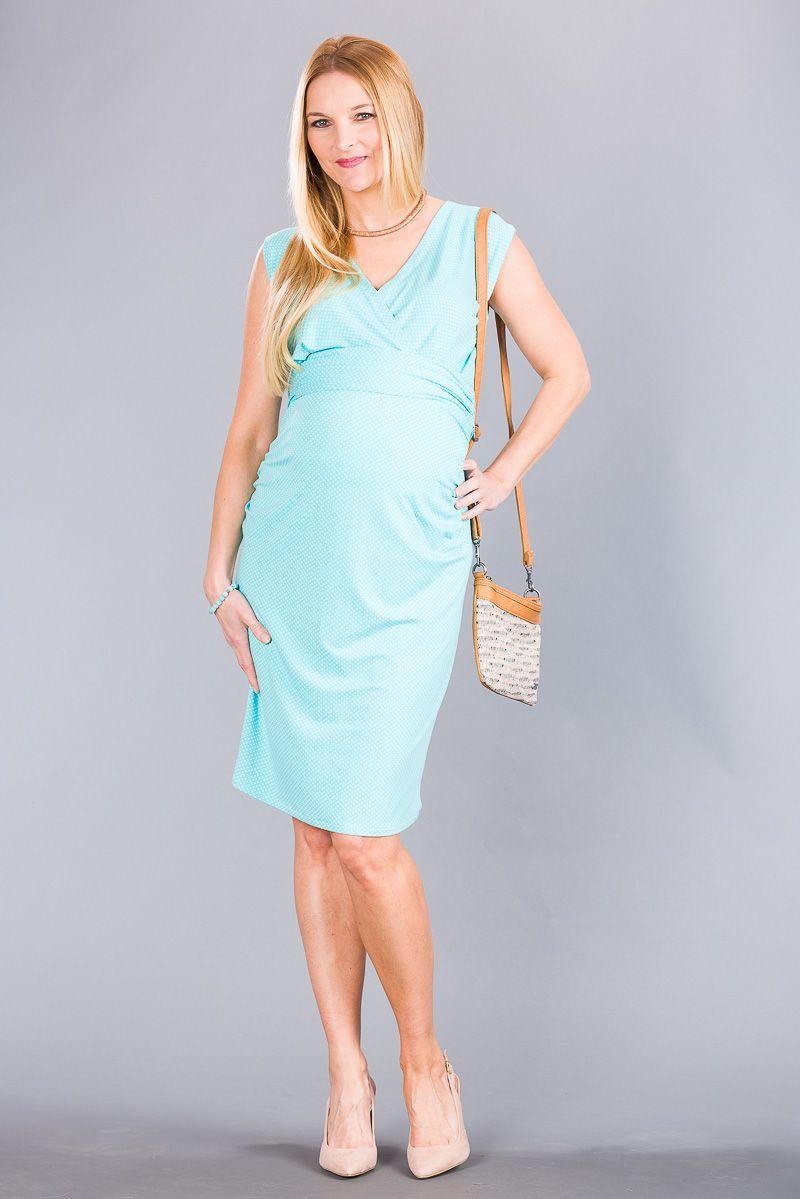 Těhotenské šaty BEBEFIELD - Giulia Blue dots