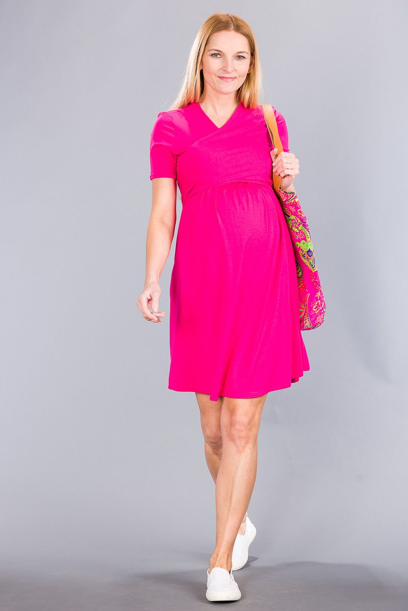 Těhotenské šaty BEBEFIELD - Pina Fuchsia