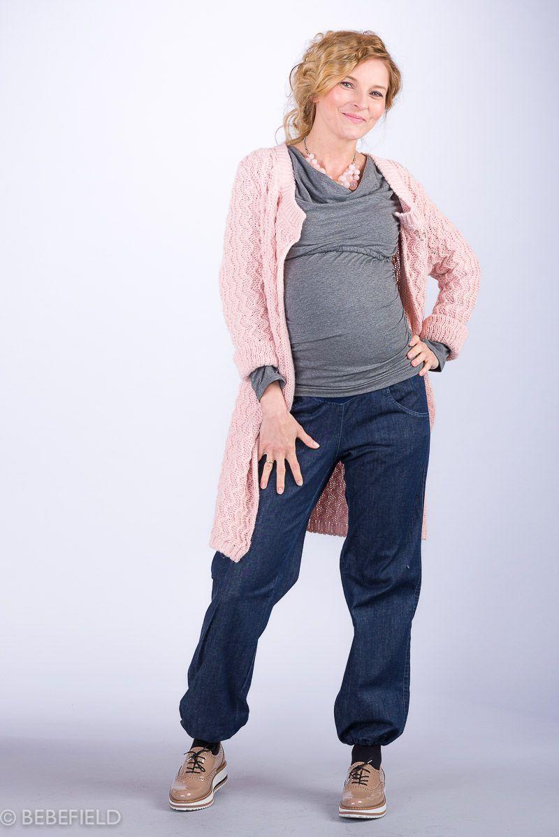 Těhotenský svetr BEBEFIELD - Tim Pale Pink