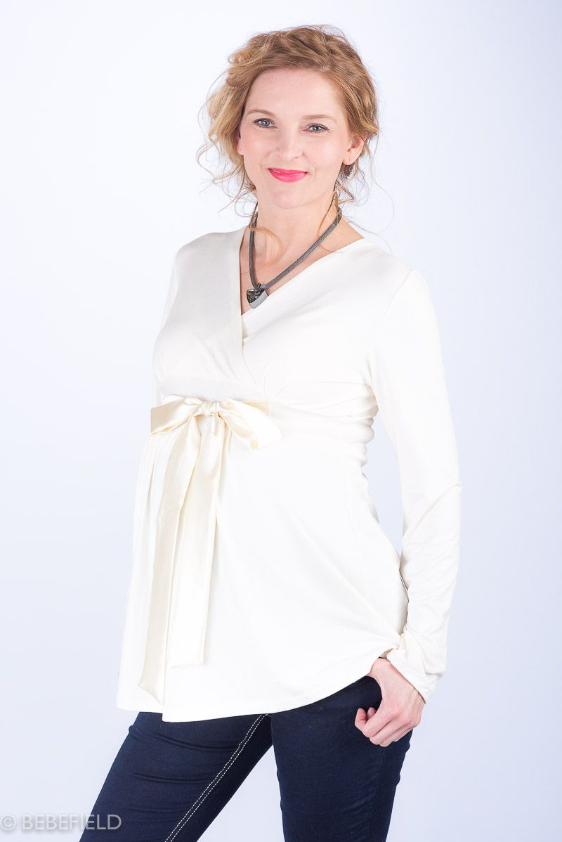 Těhotenská halenka BEBEFIELD - Antonia Ecru