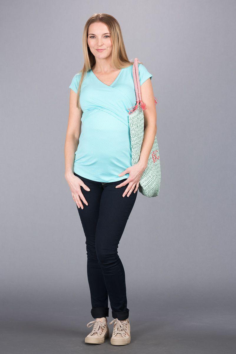 Těhotenská halenka BEBEFIELD - Sonia Blue Dots