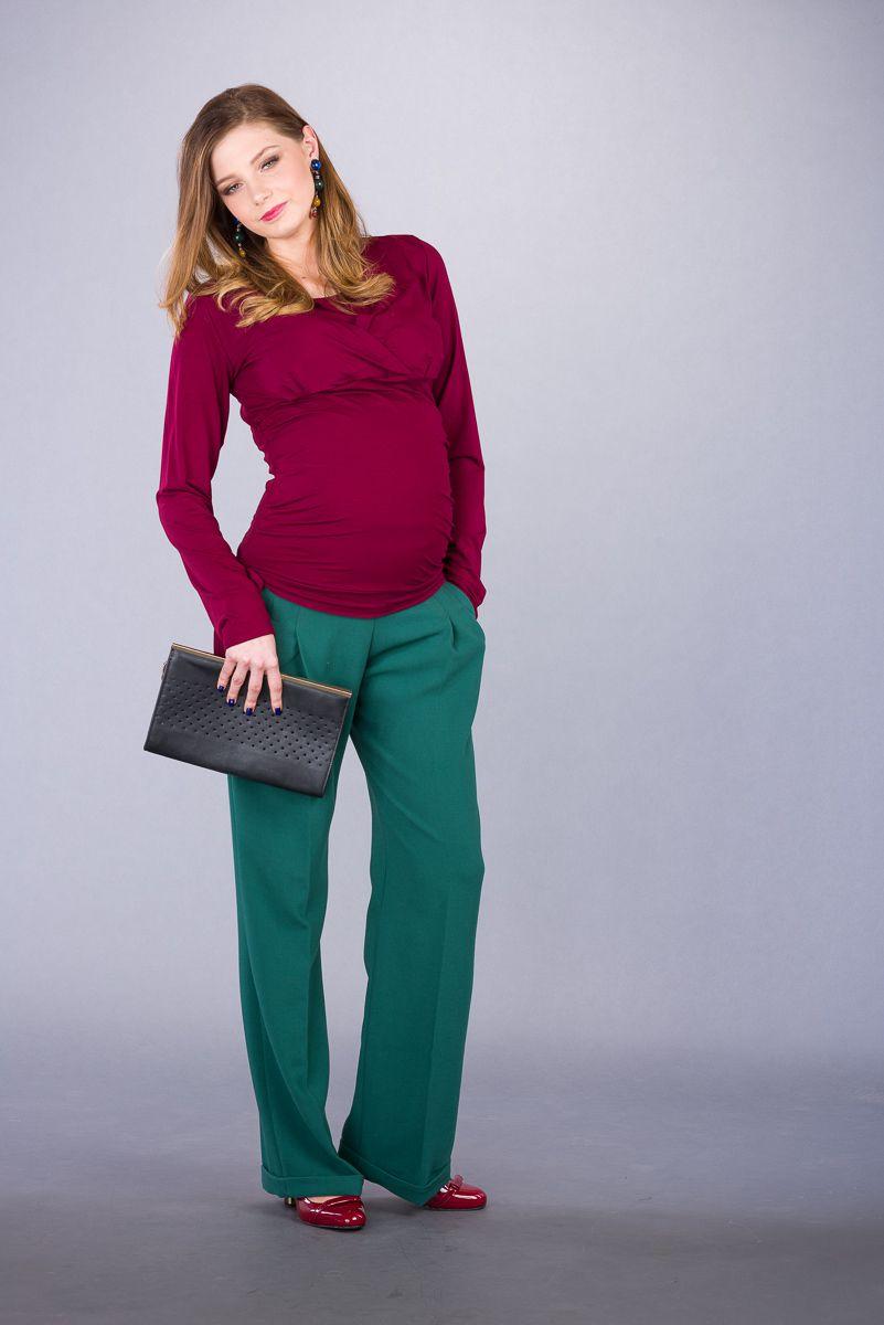 Těhotenské kalhoty BEBEFIELD - Abel Dark Green