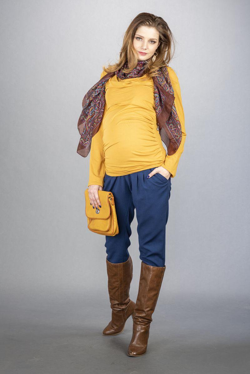 Těhotenské kalhoty BEBEFIELD - Ines Dark Blue