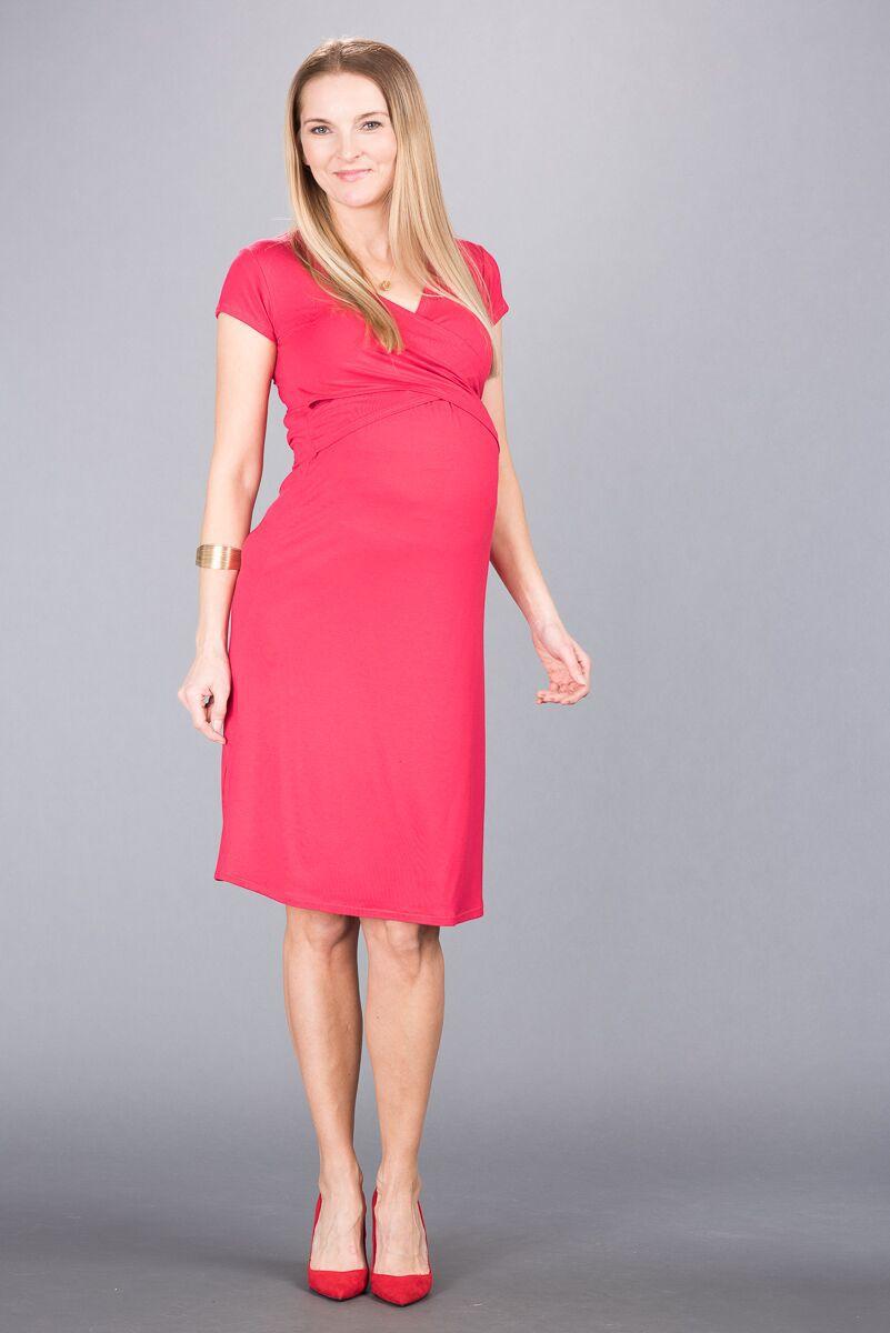 Těhotenské šaty BEBEFIELD - Florentina Raspberry