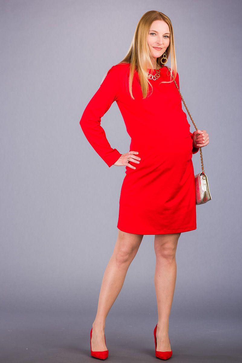 Těhotenské šaty BEBEFIELD - Liliana Red