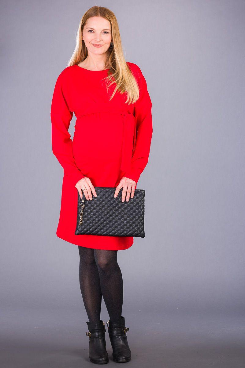 Těhotenské šaty BEBEFIELD - Nella Red
