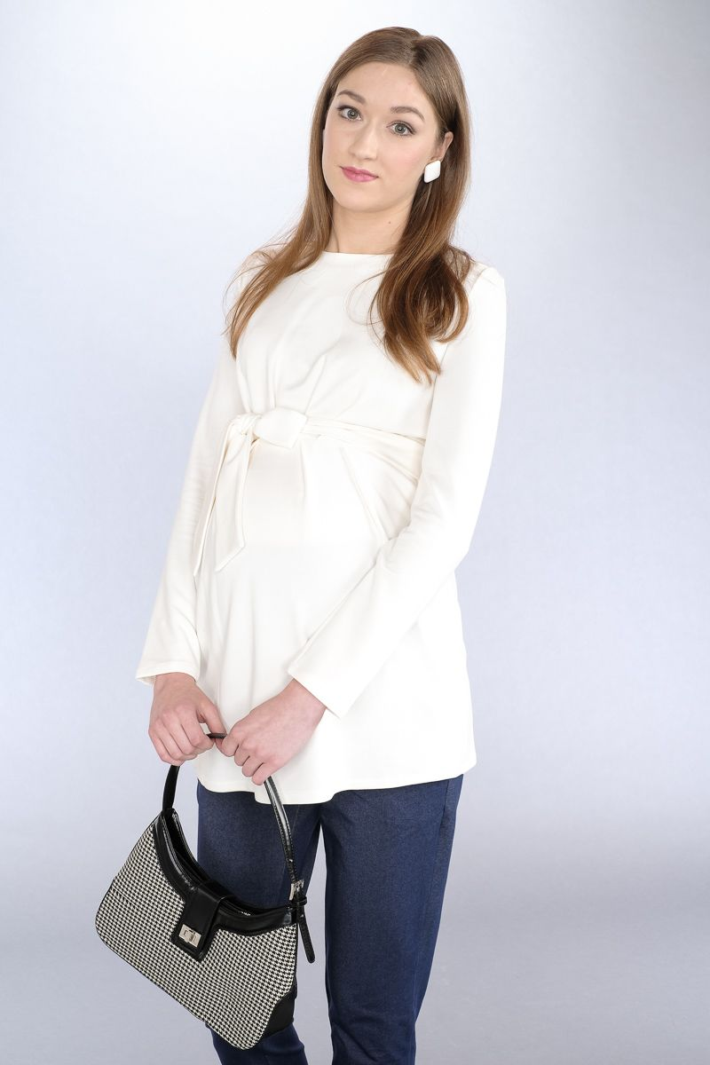 Těhotenská halenka BEBEFIELD - Ada Ecru - velikost 38