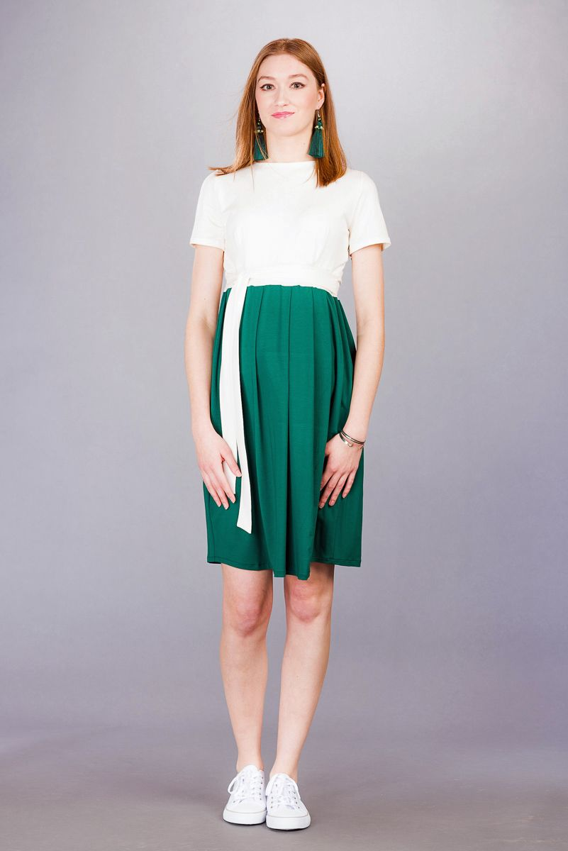 Těhotenské šaty BEBEFIELD - Gemma Deep Green