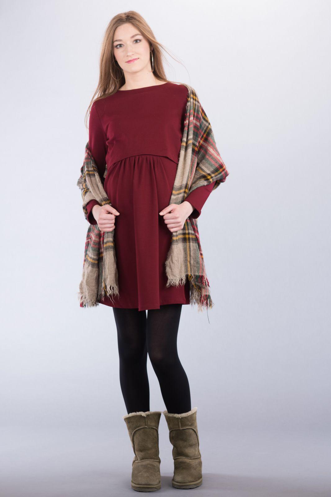 Těhotenské šaty BEBEFIELD - Isla Burgundy
