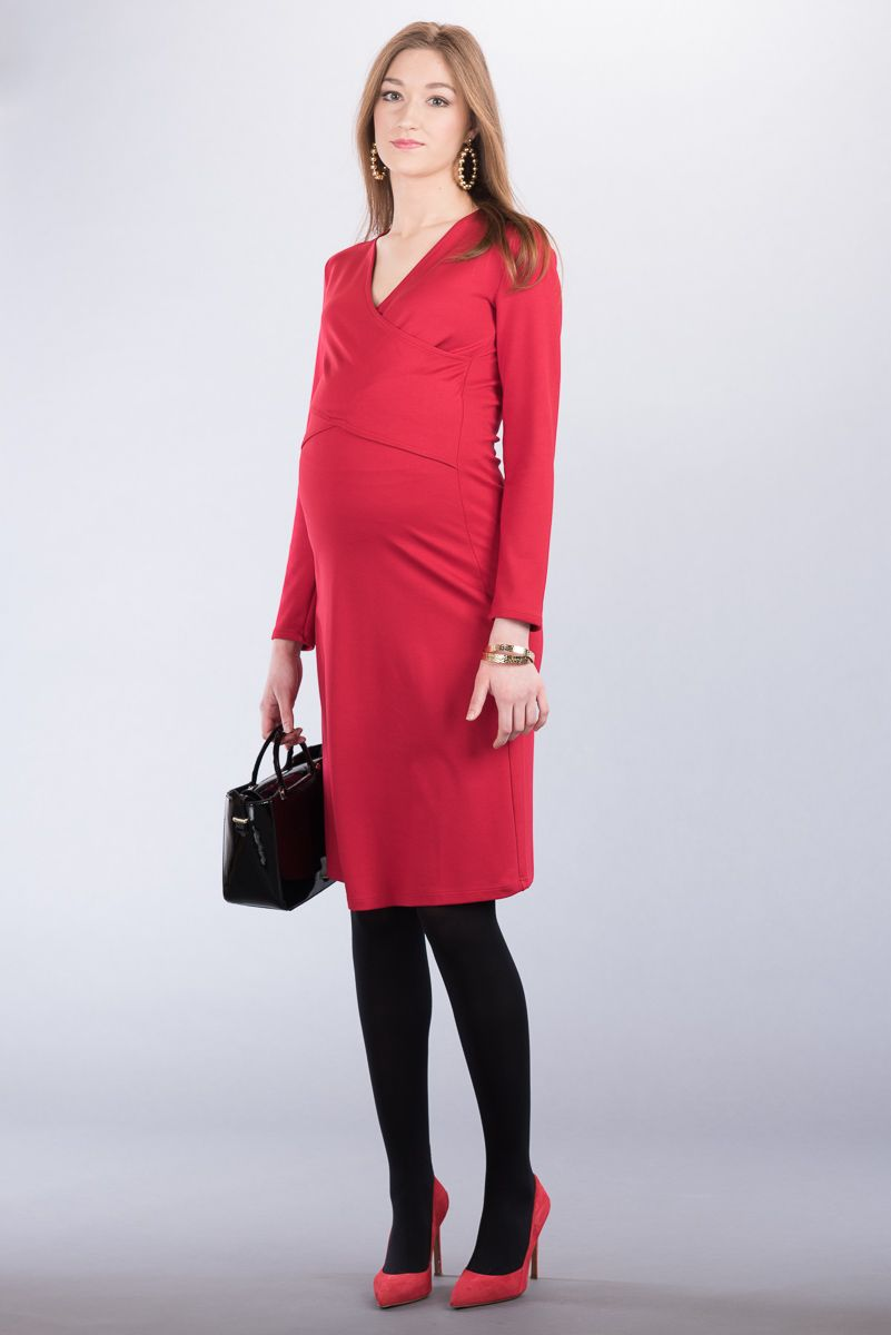 Těhotenské šaty BEBEFIELD - Paola Red