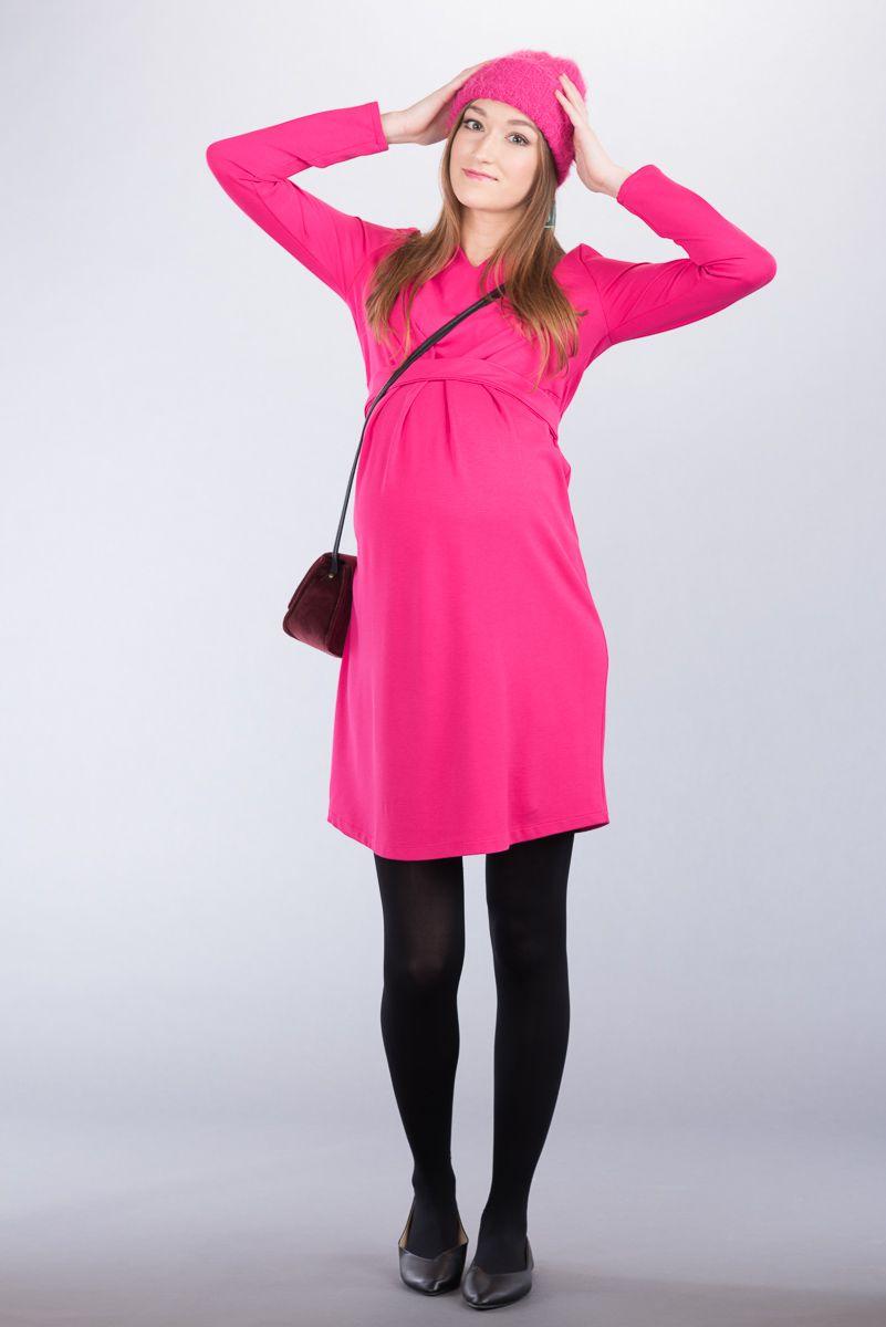 Těhotenské šaty BEBEFIELD - Sonia Fuchsia