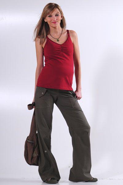 Těhotenské kalhoty BEBEFIELD - Havana Khaki