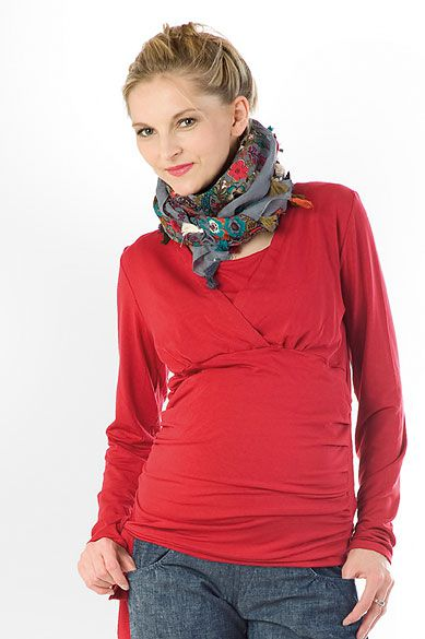 Těhotenská halenka BEBEFIELD - Daphne Red - Velikost 48