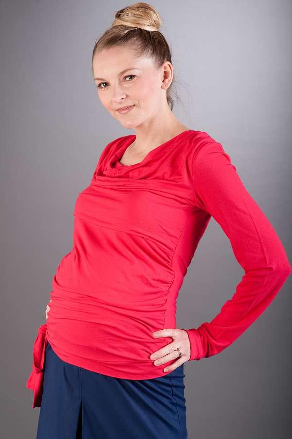 Těhotenská halenka BEBEFIELD - Vida Raspberry