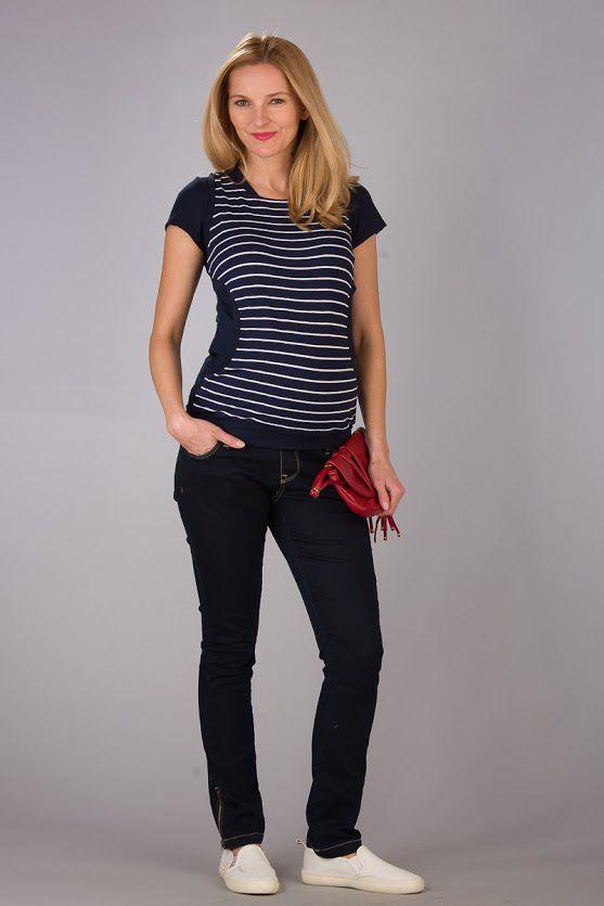 Těhotenská halenka BEBEFIELD - Megan White Navy stripe - Velikost 40