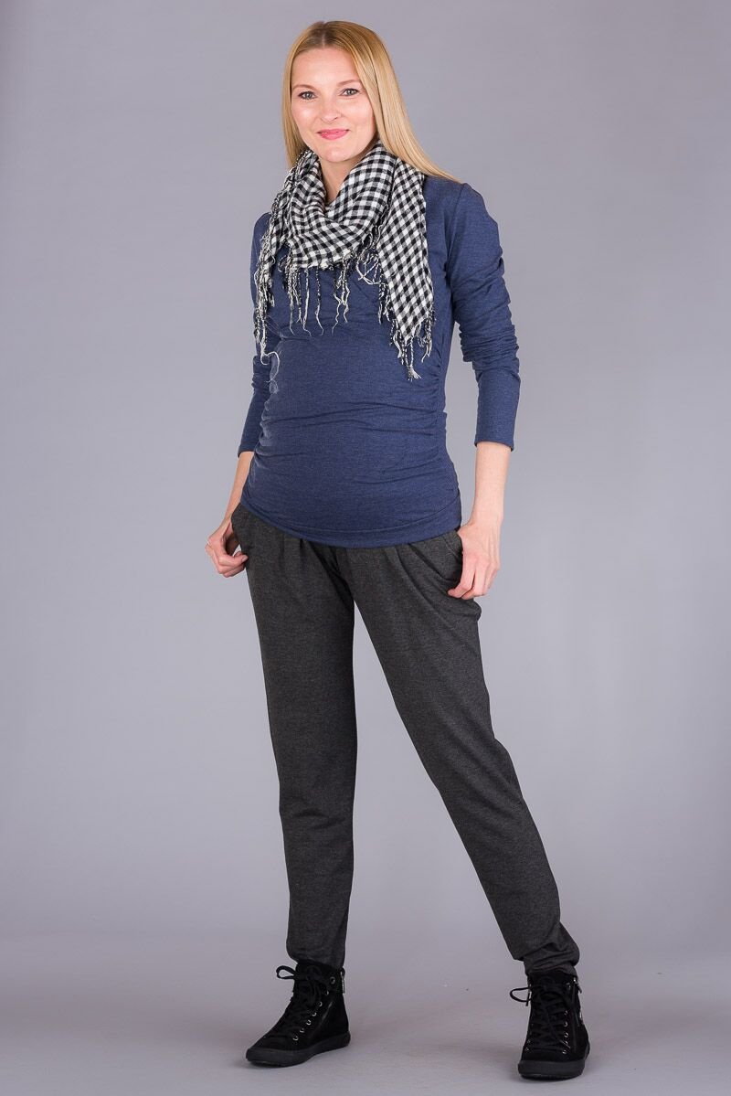 Těhotenské kalhoty BEBEFIELD - Juno Grey Melange