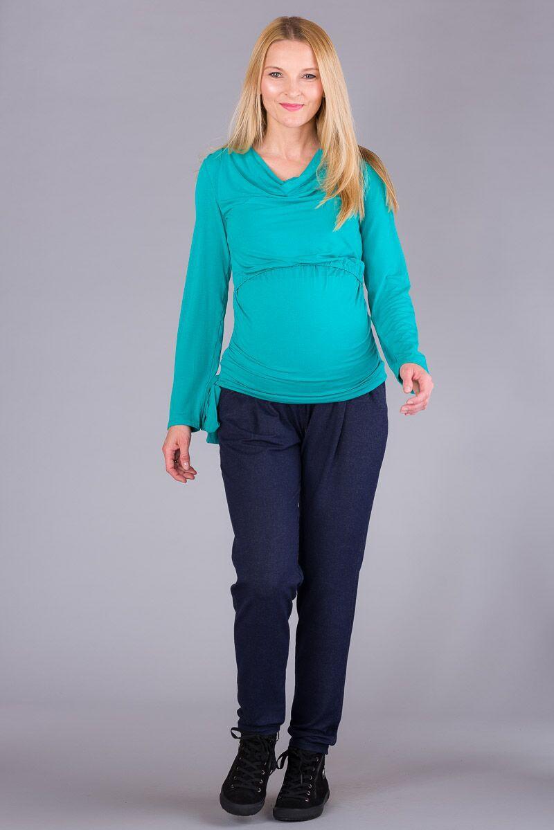 Těhotenské kalhoty BEBEFIELD - Juno Navy Melange