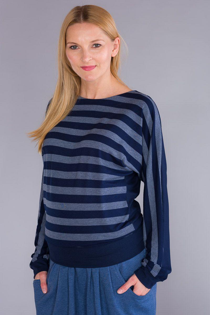 Těhotenská halenka BEBEFIELD - June Jeans & Navy