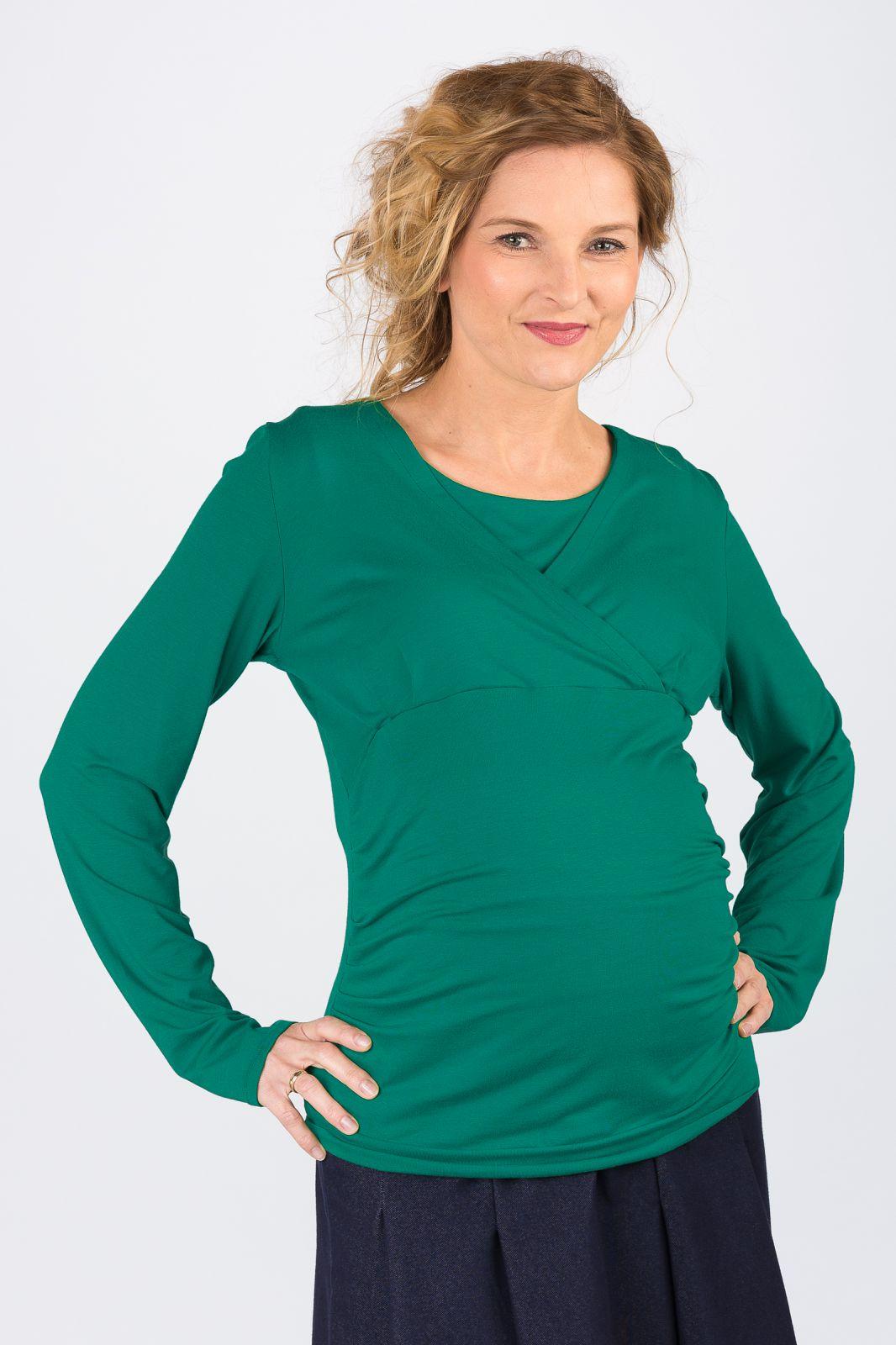 Těhotenská halenka BEBEFIELD - Rose Deep Green