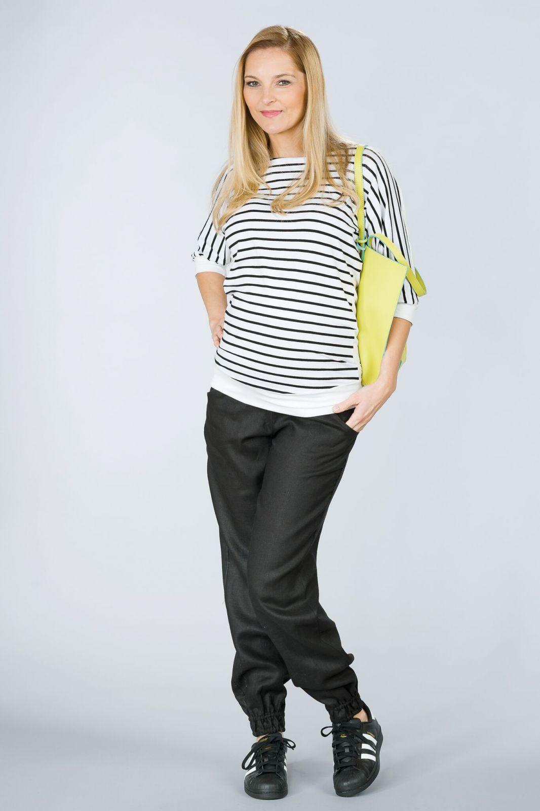 Těhotenské kalhoty BEBEFIELD - Lowa Black
