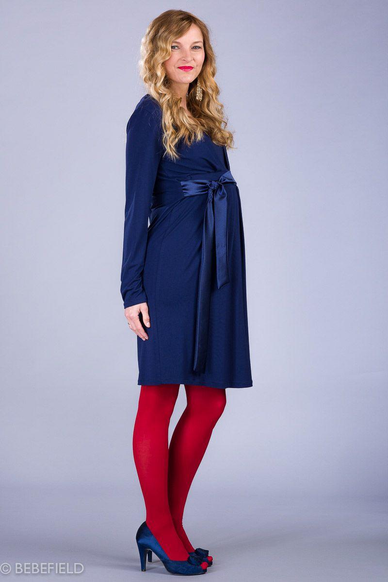Těhotenské šaty BEBEFIELD - Isabella Navy