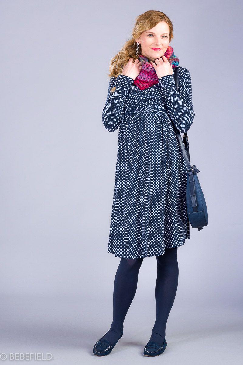Těhotenské šaty BEBEFIELD - Julianna Navy dots