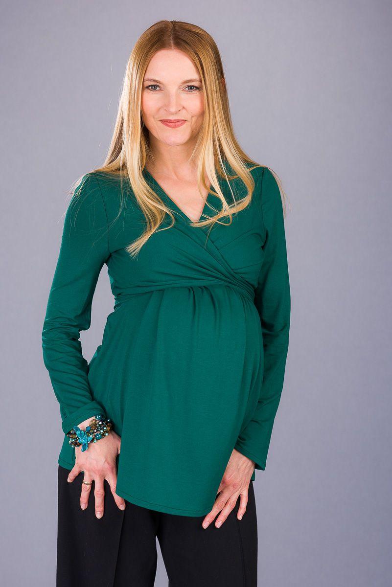 Těhotenská halenka BEBEFIELD - Fabienne Deep Green