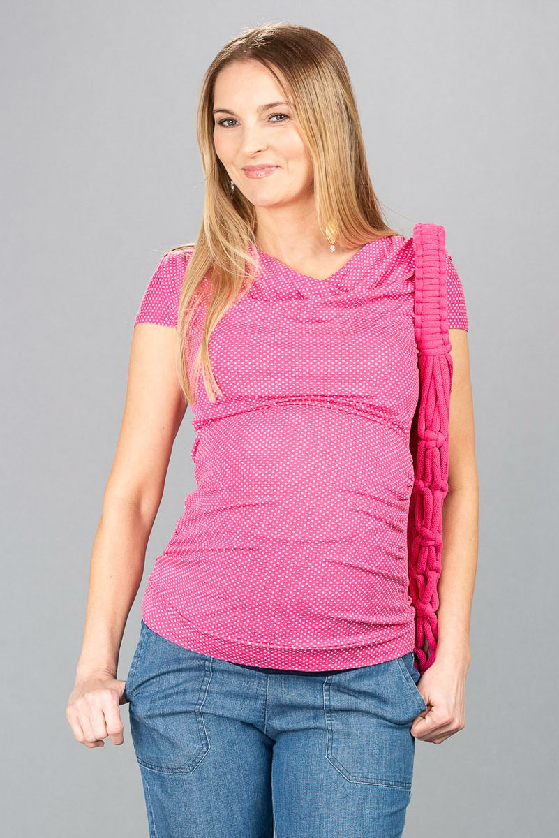 Těhotenská halenka BEBEFIELD - Tina Pink Dos