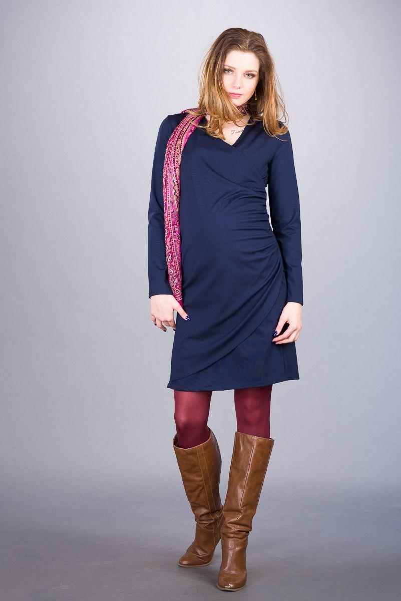 Těhotenské šaty BEBEFIELD - Delphine Navy