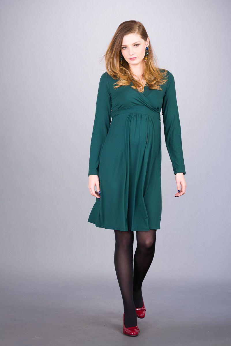 Těhotenské šaty BEBEFIELD - Rebecca Dark Green - Velikost 44