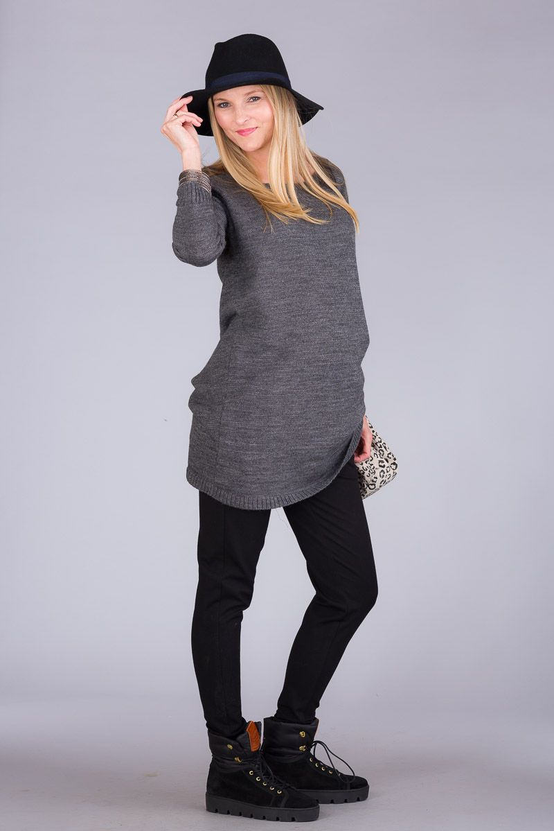 Těhotenský svetr BEBEFIELD - Arya Dark Grey